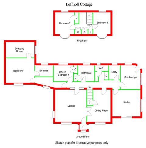 Floor Plan for Leffnoll Cottage